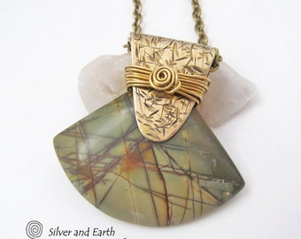 Picasso Jasper Necklace, Natural Stone Necklace, One of a Kind Jewelry, Jasper Pendant, Fall Jewelry, Handmade Gold Brass Metalwork Necklace