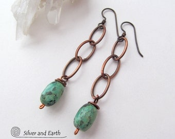 Copper Chain Earrings with Dangling African Turquoise, Lightweight Earrings, Trendy Earrings, Simple Earthy Rustic Boho Jewelry Handmade