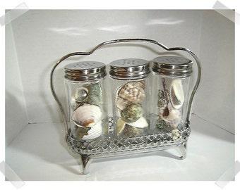 Silver Plated Bottle Holder w/ Glass Bottles/Home Decor/ Vintage*