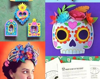 6 Day of the Dead craft activities. Learn about El Dia de los Muertos. Over 40 teacher friendly printable PDF worksheets - by Happythought.