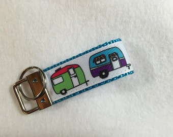 MINI Key Fob RV Campers or Cute Travel Trailers  with 3 Webbing Choices