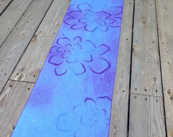 "Beautiful Floral Shades of Purple and Blue Discharge Dyed ""Hannah"" Floral  Cotton Fabric Table Runner/Table Topper/ Dresser Scarf"