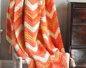 Vintage Afghan Throw Blanket Bright Bold Orange with fringe Crochet