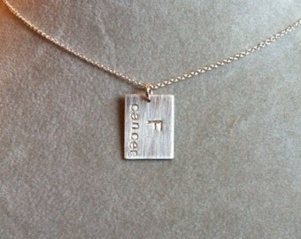 F Cancer -- Stamped Sterling Silver Necklace