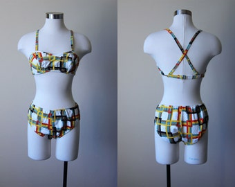 60s Bikini - Vintage 1960s Novelty Print Swimsuit - Rare Deadstock Modern Art Hip Hugger Swimsuit XS - Mondrian Bikini