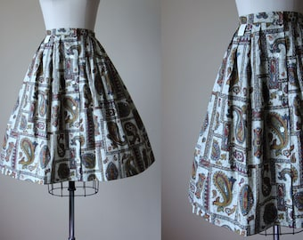 50s Skirt - Vintage 1950s Skirt - Olive Green Burgundy Teal Batik Deadstock Cotton Full Skirt S - Paisley Park Skirt
