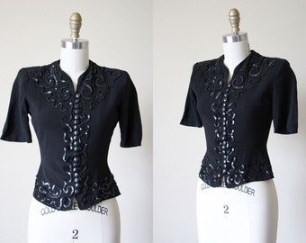 Vintage 1930s Top - 30s Black Rayon Puff Sleeve Blouse w Sequins S - Licorice Top