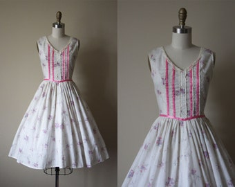 70s Dress - Vintage 1970s Dress - Pink Lavender White Floral Print Princess Cotton Sundress S - Sweet Innocence Dress