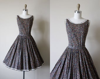 50s Dress - Vintage 1950s Dress - Black Floral Full Skirt Bust Shelf Cotton Top and Skirt Set XS - Harvest Hour Dress