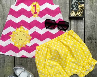 You are My Sunshine First Birthday Dress and Bloomers