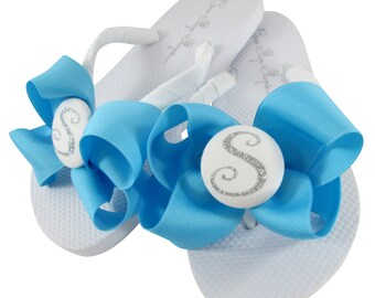 Turquoise & Silver Glitter Bow Flip Flops- Personalized with Monogram Initial in flats or wedges. Great Bridesmaid Shoe Gift. Many Colors
