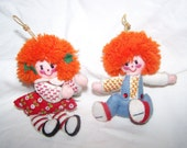 Vintage 1960s 1970s Felt Raggedy Ann and Andy Handmade Holiday Ornaments Ragdoll Christmas Tree Decoration Doll Sequins Stitched Gift Topper