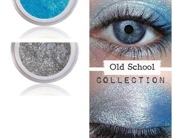 Sporty Eyeshadow Kit, Old School, Silver Blue Shimmer, Natural beauty, Mineral Eye Shadow, Rebellious, Loose Pigment, Metallic Look, Colors