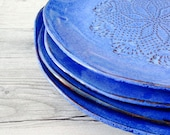 Home dinnerware in Blue - handmade dinnerware Sets of 4 plates - ceramic plates - Provence dish - wedding gifts modern dish sets