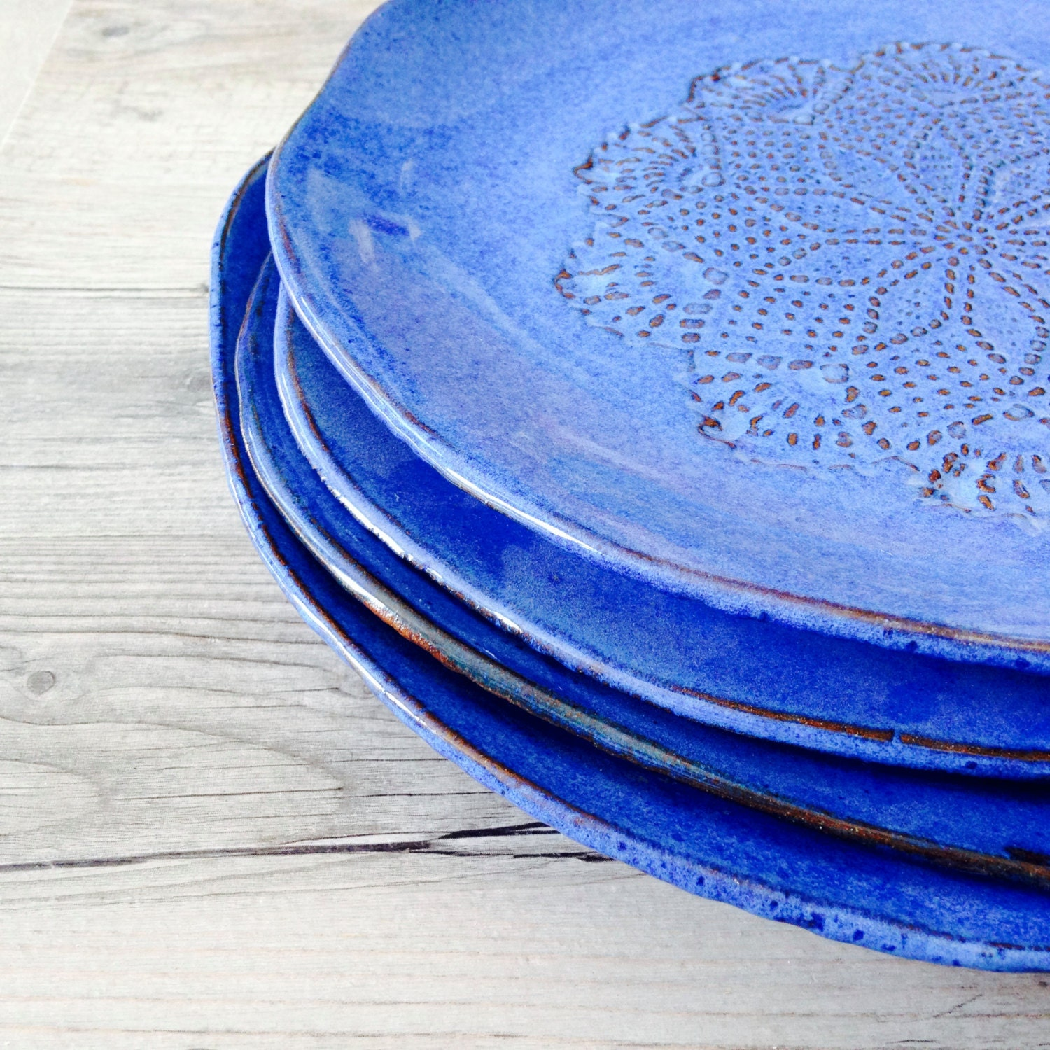 Blue Dinnerware Set Handmade Ceramic Dinnerware Rustic
