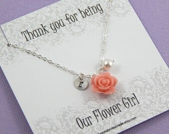 Flower Girl Thank You - Gift Boxed Jewelry, Our Flower Girl Necklace Personalized hand stamped Disc  Flower Girl Gift Junior Bridesmaids
