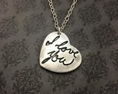 Handwriting Jewelry - Handwriting Necklace - Fine Silver handwriting necklace