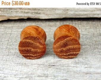 """Fall Sale 12.25mm Pear wood ear plugs, hand crafted organic 1/2"""" wooden gauge"""
