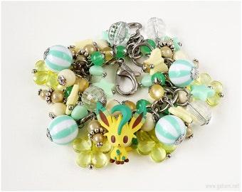 Leafeon Charm Bracelet, Pastel Yellow, Mint Green, Eeveelution, Pokemon Bracelet, Pokemon Jewelry, OOAK