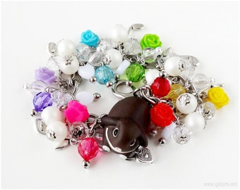 Easter Bunny Charm Bracelet, Colorful Bracelet, Bunny Figurine, Rose Charms, Stainless Steel, Silver Jewelry