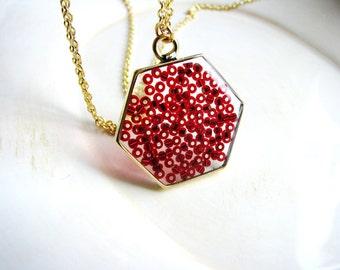 Minimalist Red Hexagon Necklace, Seed Bead Necklace, Boho Necklace, Bohemian Jewelry, Long Statement Jewelry, Resin Jewelry