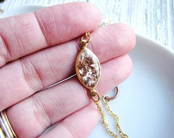 Thin Champagne Glitter Bracelet, Gold Brass Bracelet, Resin Jewelry, Minimalist Bracelet, Boho Bracelet