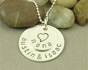 ON SALE Personalized Nana Necklace Hand Stamped Sterling Silver