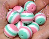 20mm Mint Green, Hot Pink and White Striped Beads, Chunky Beads, Bubblegum Beads, Gumball Beads, Chunky Jewelry Beads, Acrylic Beads, Resin