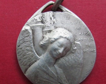 Antique Religious Medal Smiling Guardian Angel Of Reims Pendant French Signed Yencesse   SS146