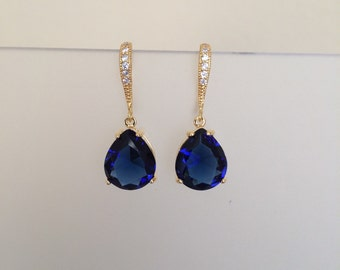 Sapphire Blue pear Cut Academies earrings in gold