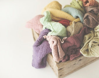 Newborn Wraps, RUSTIC WRAPS , Baby Wraps Cheesecloth Wraps - PICK 5- Photography Prop, Newborn Photo Prop, Extra Long