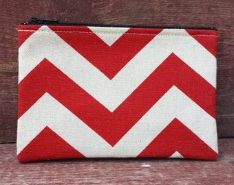 Medium Zipper Pouch Red Chevron Handmade in Iowa