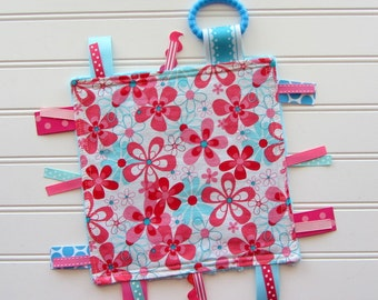 Baby Girl Pink Flowers Ribbon Lovey Tag Blanket, Ribbon Lovey, Sensory Tag Ribbon Lovey, Baby Girl Shower Gift