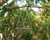 sterling silver bohemian mandala filigree earrings VINTAGE bohemian gypsy