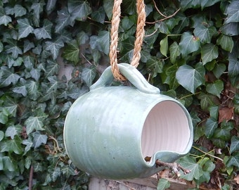 Hanging planter or bird feeder mug hand thrown in stoneware--weatherproof