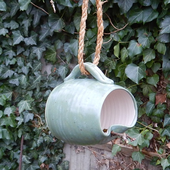 Bird feeder mug hand thrown in stoneware--weatherproof