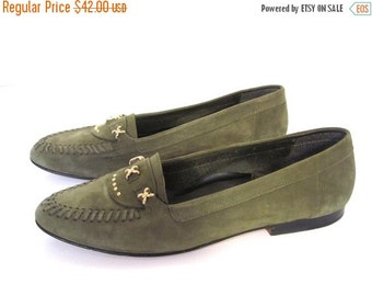 BTS SALE Vintage 80s Suede PINE  Woven Italian Loafers womens 8
