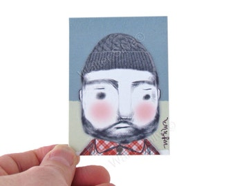 Cute Fisherman Artist Trading Card - Lumberjack Art Print - ACEO, Artist Trading Cards - Gay Bear