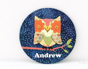 Personalized OWL Magnet, Pin Back Badge or Pocket Mirror - Custom Wise Owl ART Magnet or Pin Back Badge - Made to Order