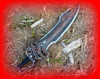 "Steampunk gun  sword  with skulls fantasy cosplay anime costume movie prop gothic 34"""