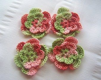 Appliques hand crocheted flowers set of 4 green coral sea cotton 1.5 inch crochet motif