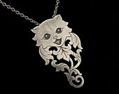 Sterling Silver Cat Rose Necklace - Cute Kitty Ornate Floral Pendant - ROSA FELINA