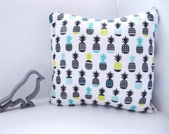 Awesome Pineapple Print Cushion - Scandi Style Geometric Print Pillow - White Black Blue Yellow Cushion