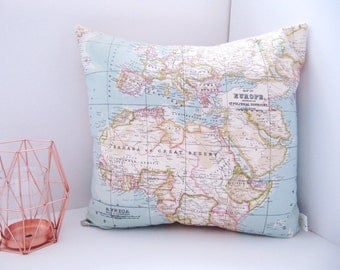 Beautiful Vintage Map Print Cushion  - Soft Blue Cream Pink Green and White Europe Africa Uk Map Print Pillow - World Map Print Cushion