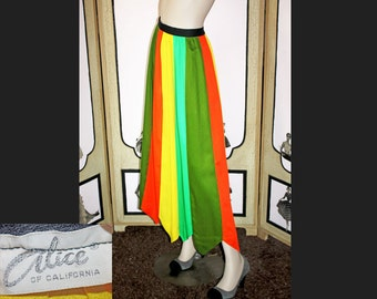 Vintage Panel Skirt in Vivid Multi-Color by Alice of California. Small.