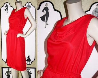 Saucy 70's Red Dress with Cowl Neck. Small.