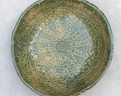 Stoneware Gold and Green Lace Bowl Trinket bowl Candy Dish Cereal bowl