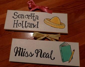 Spanish English Writing Reading Teacher Name School Class Custom Sign Door Hanger Wreath