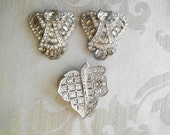 3 Art Deco Vintage Signed Goody Rhinestone Dress Clip As Is