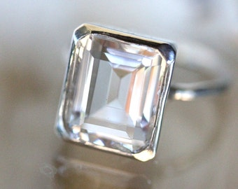 Emerald Cut White Topaz Sterling Silver Ring, Cocktail Ring, Gemstone Ring, Recycled Gold, Eco Friendly, No Nickel - Made To Order